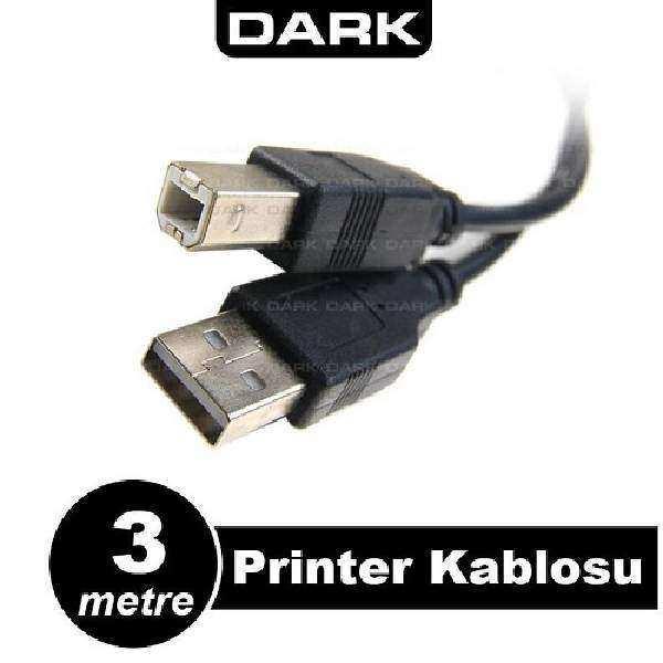 DARK DK-CB-USB2PRNL300 3 Mt USB 2.0 Yazıcı ve Data Kablosu (B-Tip)